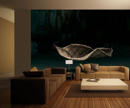 Photo wallpaper 3D levitating Leaf
